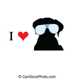 vettore, amore, cane, illustrazione