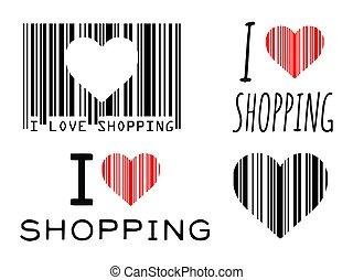 vettore, amore, concetto, shopping, illustrazione