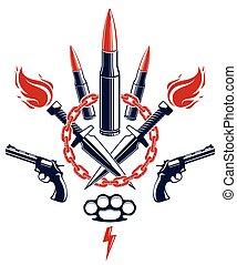 vettore, anarchia, rivoluzione, gangster, theme., sociale, pallottole, caos, differente, tensione, o, criminale, elementi, disegno, stile, concetto, tatuaggio, guerra, lotti, emblema, logotipo, pistole