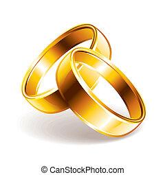 vettore, anelli, illustrazione, matrimonio