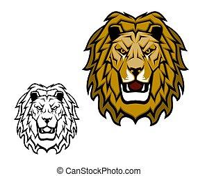 vettore, animale, leone, selvatico, mascotte, gatto