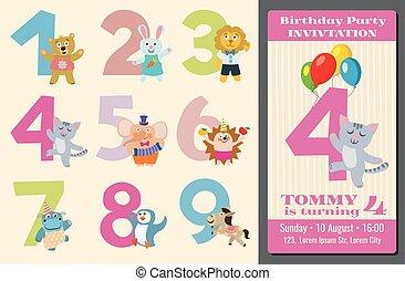 vettore, animali, bambini, anniversario, illustrazione, compleanno, numeri, cartone animato