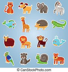 vettore, animali, cartone animato, collezione, 16