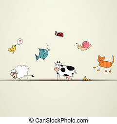 vettore, animali, cartone animato