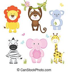 vettore, animali, cartone animato, set, selvatico, carino