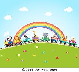 vettore, animali, treno, rainbow., giungla, ferrovia, cartone animato