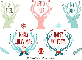 vettore, antlers, set, cervo, natale