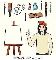 vettore, apparecchiatura, set, arte, artista