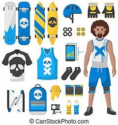 vettore, apparecchiatura, set, skateboard, illustrazione