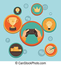 vettore, appartamento, concetto, -, gamification