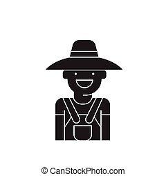 vettore, appartamento, concetto, illustrazione, segno, donna, nero, icon., giardiniere