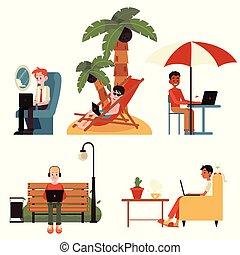 vettore, appartamento, concetto, indipendente, lavoro, set, distante