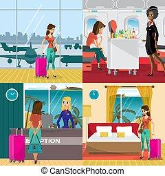 vettore, appartamento, concetto, room., aereo, viaggiare, albergo, vacanza, illustrazione, regioni, banners., donna, spiaggia., viene, aeroporto, cartone animato, riscaldare