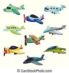 vettore, appartamento, differente, set, jet, passeggero, mobile, o, libro, gioco, aircrafts., piani, aeroplano militare, biplane., bambini, elementi