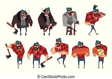 vettore, appartamento, differente, set, maglione, giacca, camicia, barbuto, actions., jeans, plaid, hipster, axe., hat., tagliaboschi, disegno, forte, cartone animato, taglialegna, uomo
