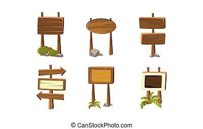 vettore, appartamento, direzione, set, legno, mobile, gioco, computer, signboards, arrows., o, elementi