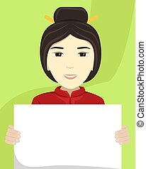 vettore, appartamento, diversity., cartellone, lei, illustrazione, donna, asiatico, razziale, hands.