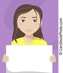 vettore, appartamento, diversity., cartellone, lei, illustrazione, donna, bianco, razziale, hands.