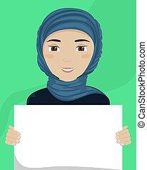 vettore, appartamento, diversity., cartellone, lei, illustrazione, donna, hijab, razziale, hands.