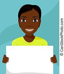 vettore, appartamento, diversity., cartellone, lei, illustrazione, donna, nero, razziale, hands.