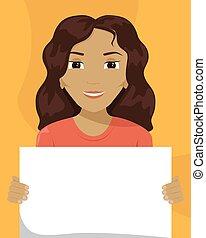 vettore, appartamento, diversity., cartellone, lei, illustrazione, donna, razziale, mescolato-razza, hands.