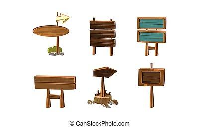 vettore, appartamento, elementi, legno, text., cartone animato, banners., gioco, set, posto, mobile, signboards, tuo, vuoto