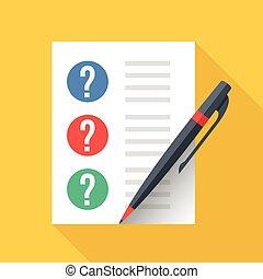 vettore, appartamento, grafico, foglio, elements., pen., lista, esame, domanda, illustrazione, quiz, carta, disegno, contrassegni, questions., concepts., documento, prova