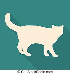 vettore, appartamento, icona, gatto, bianco, illustrazione, design.