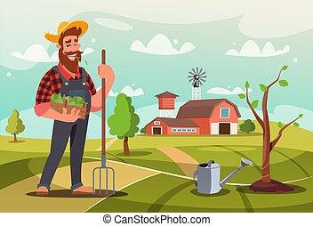 vettore, appartamento, lavoro, giardiniere, illustrazione