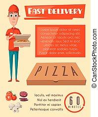 vettore, appartamento, manifesto, per, pizza, fast food, addetto alle consegne