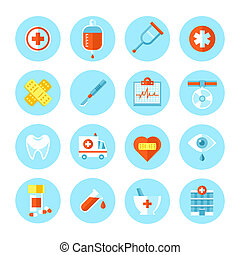 vettore, appartamento, medico, set, icons.