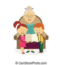 vettore, appartamento, nonna, con, bambini, libro lettura