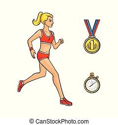 vettore, appartamento, ragazza, correndo, dorato, medaglia, cronometro
