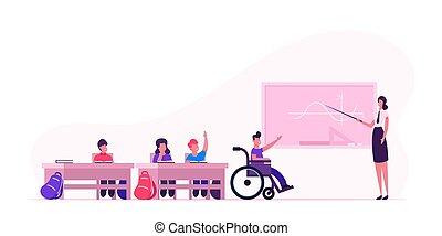 vettore, appartamento, scuola, concetto, bambini, ragazzo, teacher., lavagna, classe, lesson., indietro, illustrazione, giovane, donna disabile, incapacità, carrozzella, cartone animato, educazione, bambini, classroom.