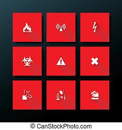 vettore, appartamento, set, avvertimento, icona