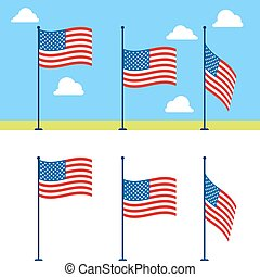 vettore, appartamento, set, bandiere, stati uniti
