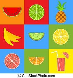 vettore, appartamento, set, illustration., cocktail, semplice, limone, colorato, pompelmo, isolato, straw., tropicale, arancia, luminoso, kiwi, bocca-watering, fruits., cibo., ananas, banana, watermelon.