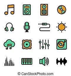 vettore, appartamento, set, musica, icone