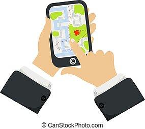 vettore, appartamento, smartphone, illustration., mappa, pista, navigazione, app, mobile, mano, telefono, inseguimento, posizione, presa a terra, tocco, nuovo, cartone animato, schermo, concept., gps