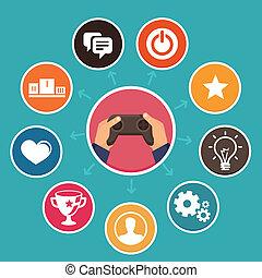 vettore, appartamento, stile, concetto, gamification