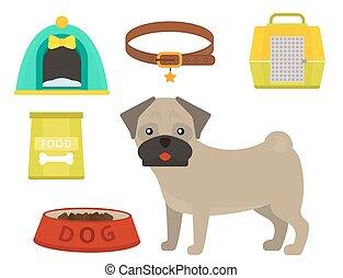 vettore, appartamento, stile, elementi, coccolare, pug, cane...
