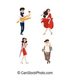 vettore, appartamento, stile, moda, persone, francese, set