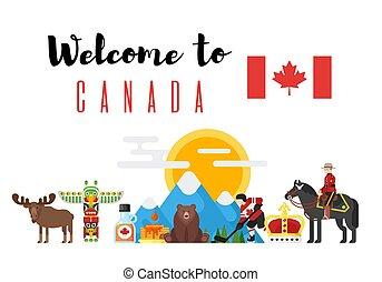 vettore, appartamento, stile, set, canadese, nazionale, ...