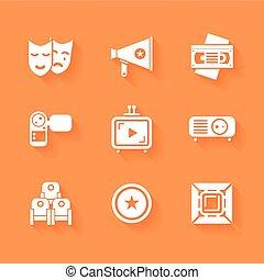 vettore, appartamento, stile, set, cinema, film, icons., roba, shadows., bianco