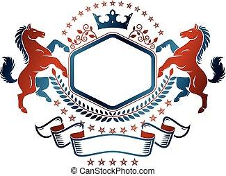 vettore, araldica, cavallo, grafico, creato, logo.,...