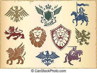 vettore, araldico, set, eagl, leone