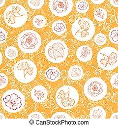 vettore, arancia, bianco, seamless, modello, con, cadere, flowers., fondo, per, tessuto, o, libro, coperchi, manifatturiero, carte parati, stampa, involucro regalo, scrapbooking.
