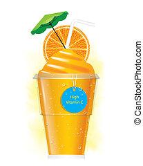vettore, arancia, smoothie