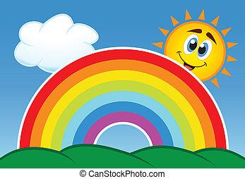 vettore, arcobaleno, nuvola, e, sole