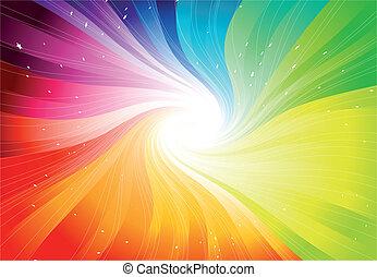 vettore, arcobaleno, starburst, colorato